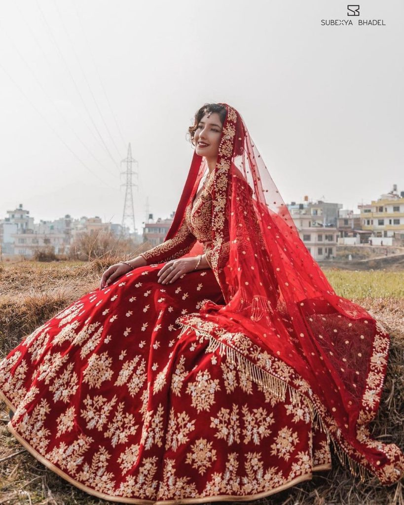 Aanchal Sharma showcasing 2021 bridal collection of Subexya Bhadel